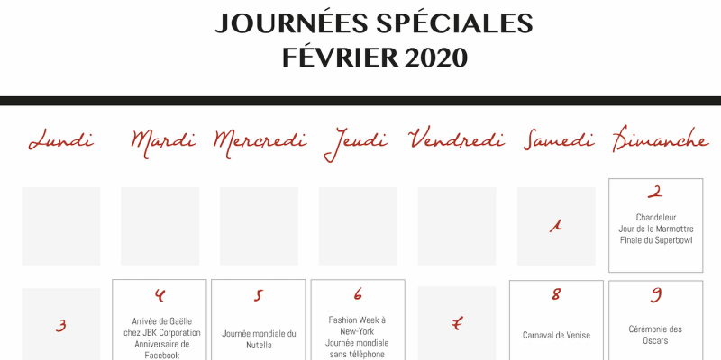 Calendrier Des événements En Février 2020