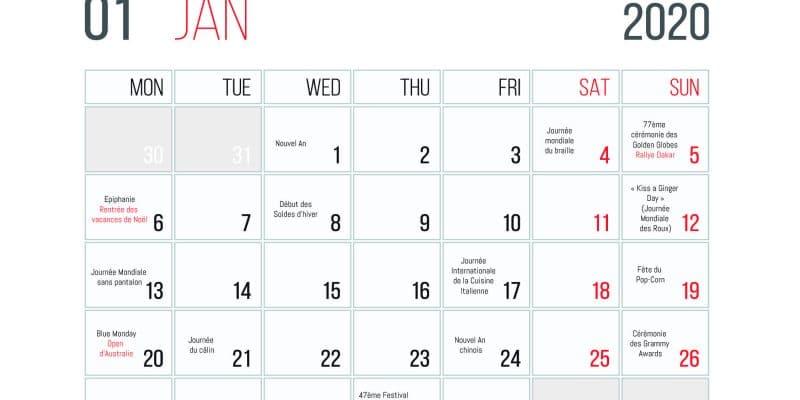 Calendrier Des événements En Janvier 2020