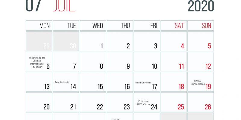 Calendrier Des événements En Juillet 2020
