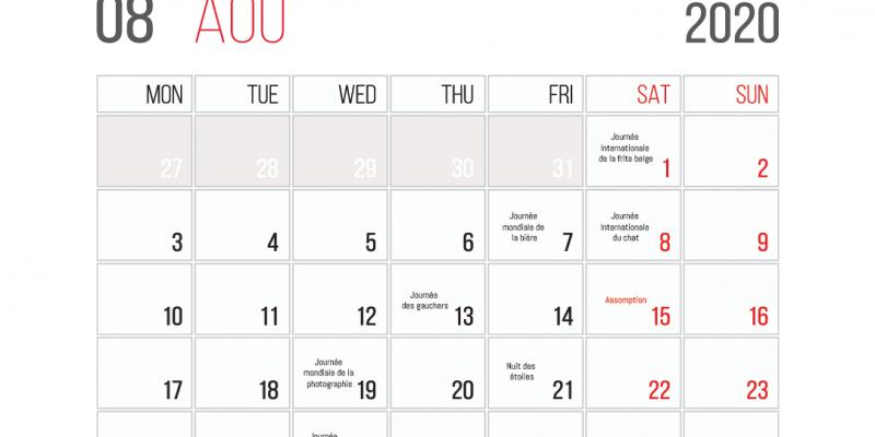 Calendrier Des événements En Août 2020
