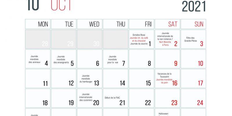 Calendrier Des événements En Octobre 2021
