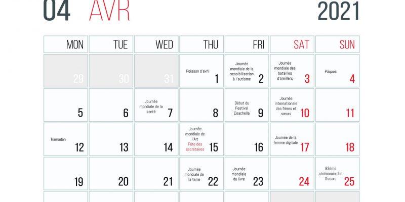 Calendrier Des événements En Avril 2021