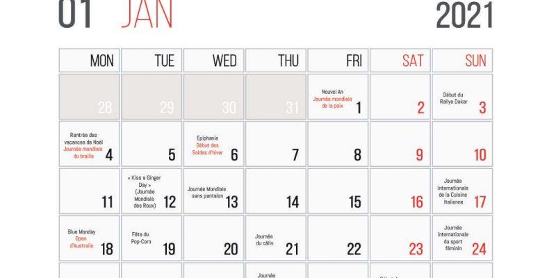 Calendrier Des événements En Janvier 2021